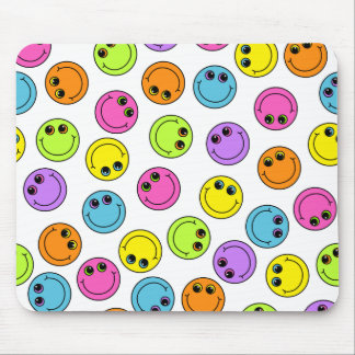 Colorful Smiley Faces Mouse Pad