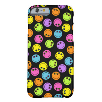 Colorful Smiley Faces on Black Barely There iPhone 6 Case