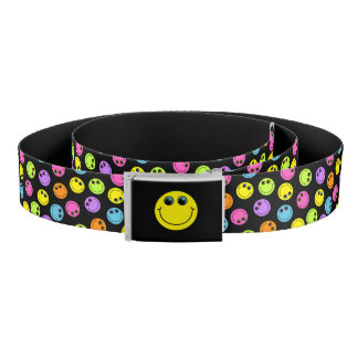 Colorful Smiley Faces on Black Belt