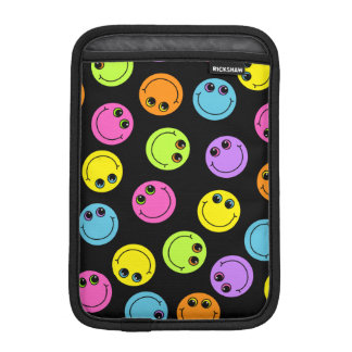 Colorful Smiley Faces on Black iPad Mini Sleeve