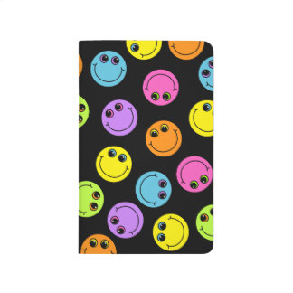 Colorful Smiley Faces on Black Journal