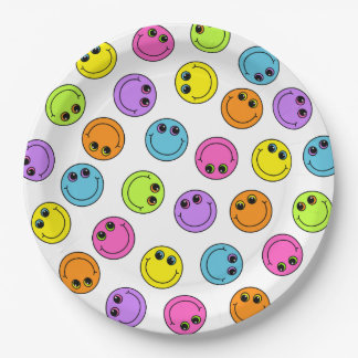Colorful Smiley Faces Party 9 Inch Paper Plate