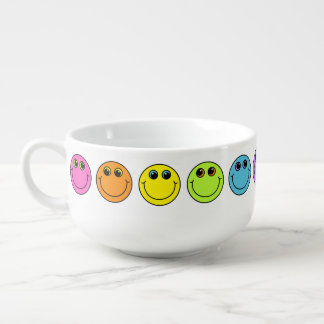 Colorful Smiley Faces Soup Mug