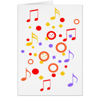 Colorful Smileys and Music Notes Greeting Card