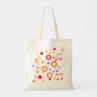 Colorful Smileys and Music Notes Tote Bag