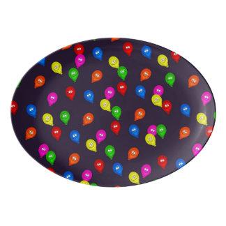 Colorful Smiling Balloons Black Porcelain Serving Platter