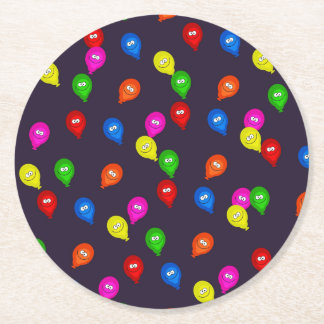 Colorful Smiling Balloons Black Round Paper Coaster