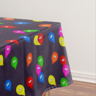 Colorful Smiling Balloons Black Tablecloth