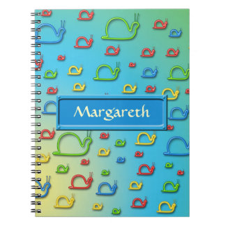 Colorful snails everywhere notebook
