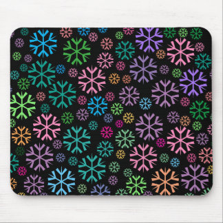 Colorful Snowflakes Pattern on Black Mouse Pad