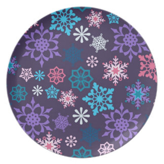Colorful Snowflakes Pattern Plate