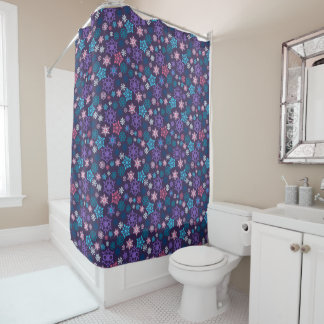 Colorful Snowflakes Pattern Shower Curtain