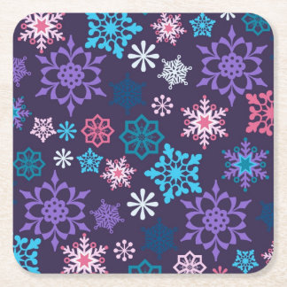 Colorful Snowflakes Pattern Square Paper Coaster