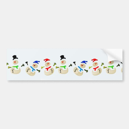 Colorful Snowman Christmas Parade Bumper Stickers