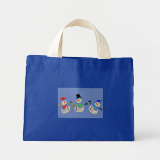Colorful Snowman Christmas Parade Small Blue Tote Bags
