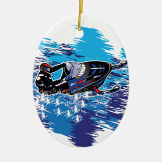 Colorful Snowmiobile Catching a High Drift Christmas Ornament