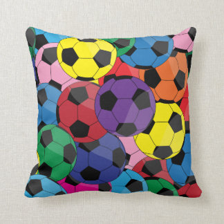 Colorful Soccer Ball Collage Pillows
