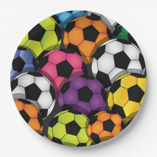 Colorful Soccer Balls Design Paper Party Plate