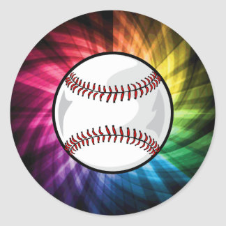 Colorful Softball; Baseball Classic Round Sticker