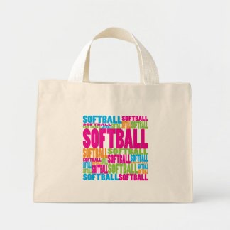 Colorful Softball Mini Tote Bag