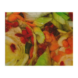 Colorful Soup Abstraction Wood Print