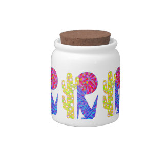 Colorful Southwestern Coyote Wolf Snacks Candy Jar