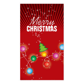 Colorful Sparkling Christmas Tree Lights Gift Tag Pack Of Standard Business Cards