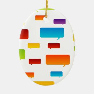 Colorful speech bubbles ceramic oval decoration