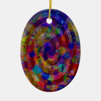 Colorful Spiral Double-Sided Oval Ceramic Christmas Ornament