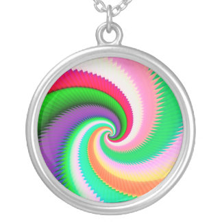 Colorful Spiral Dragon Scales Silver Plated Necklace