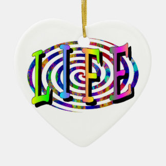 Colorful Spiral- Life Double-Sided Heart Ceramic Christmas Ornament