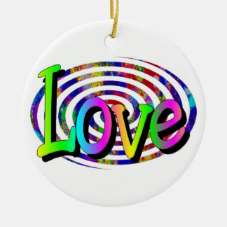 Colorful Spiral- Love Double-Sided Ceramic Round Christmas Ornament