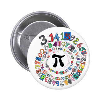 Colorful sPiral of Pi Calculated 6 Cm Round Badge