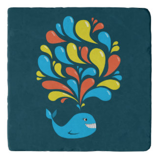 Colorful Splash Blue Happy Cartoon Whale Trivet