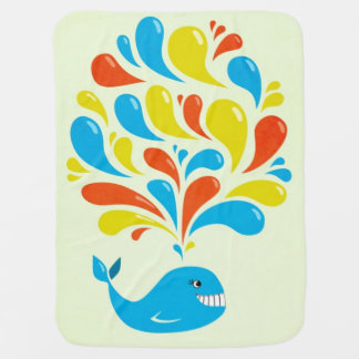 Colorful Splash Happy Cartoon Whale Baby Blanket