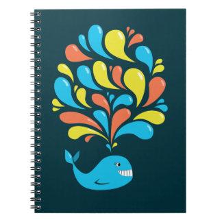 Colorful Splash Happy Cartoon Whale Notebooks