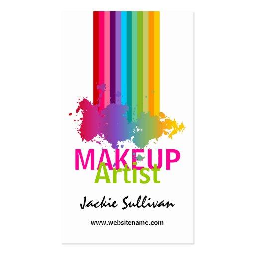 Colorful Splash Makeup Artist Business Cards