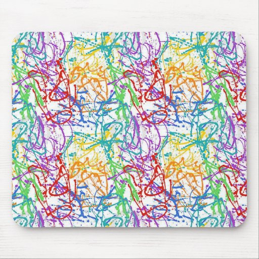 Colorful Splatter Paint Pattern Mouse Pad