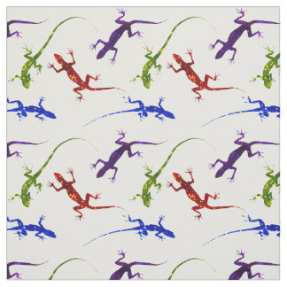 Colorful Spotted Gecko Lizards Fabric