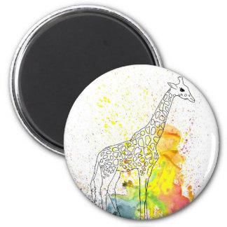 Colorful Spotty Giraffe (Kim Turnbull Art) 6 Cm Round Magnet