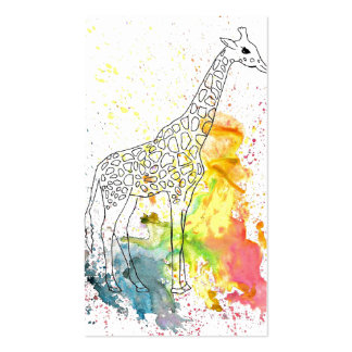 Colorful Spotty Giraffe (Kim Turnbull Art) Pack Of Standard Business Cards