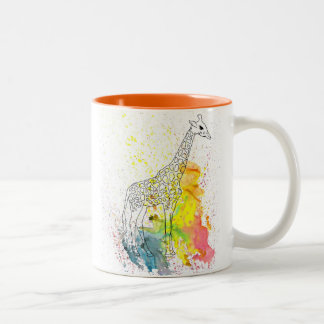 Colorful Spotty Giraffe (Kim Turnbull Art) Two-Tone Coffee Mug