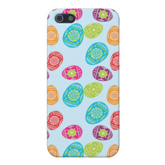 Colorful Spring Easter Eggs Pattern on Baby Blue iPhone 5 Covers