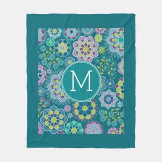 Colorful Spring Floral Pattern Custom Monogram Fleece Blanket