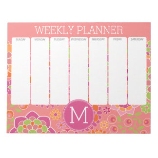 Colorful Spring Floral Pattern Custom Monogram Notepad