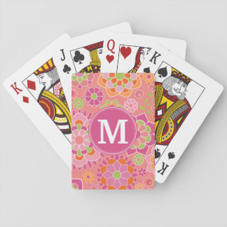Colorful Spring Floral Pattern Custom Monogram Playing Cards