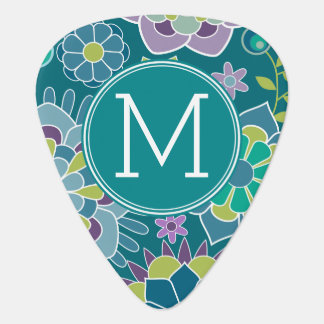 Colorful Spring Floral Pattern Custom Monogram Plectrum