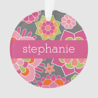 Colorful Spring Floral Pattern Custom Name
