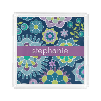 Colorful Spring Floral Pattern Custom Name Acrylic Tray