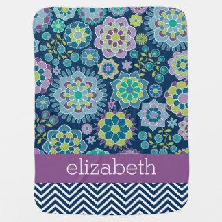 Colorful Spring Floral Pattern Custom Name Baby Blanket